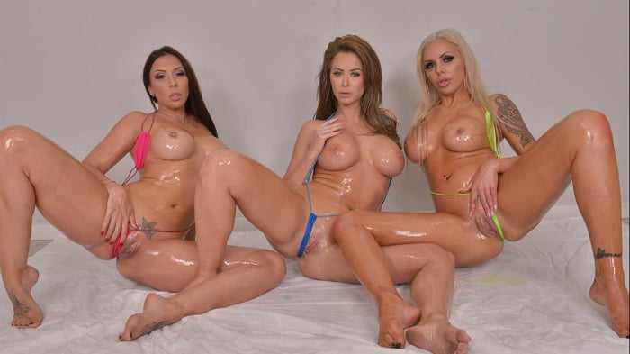 Emily Addison in 'Emily Addison, Nina Elle, and Rachel Starr are all oiled up and ready for a hard cock'