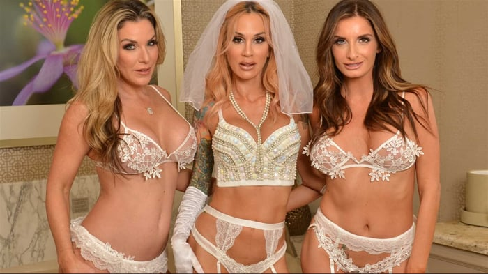 Kayla Paige in ' Sarah Jessie is getting married but wants one last bang with her bride's maids, Kayla Paige and Silvia Saige'